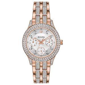 Bulova rose gold women's swarovski crystal watch